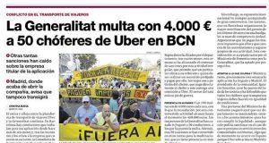 La Generalitat multa con 4.000 € a 50 chóferes de UBER EN BCN