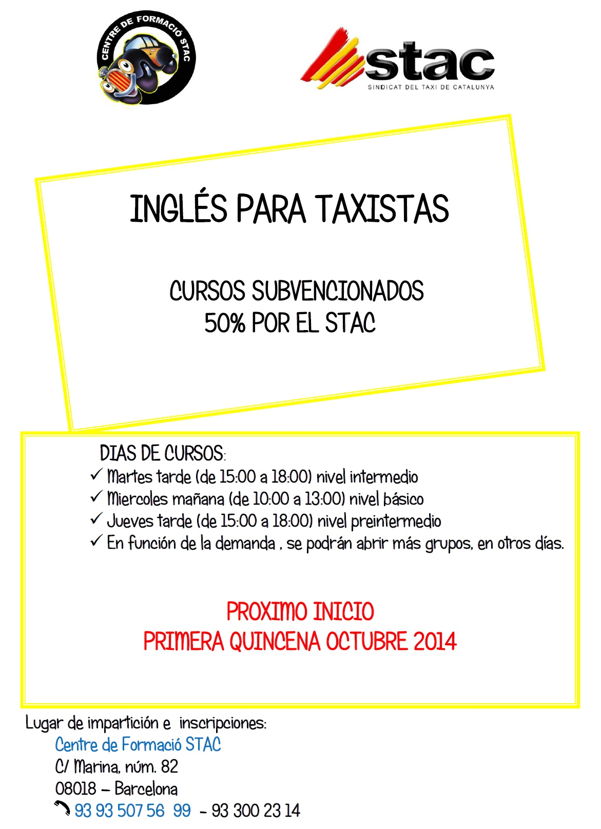 Cursos de inglés para taxistas, subvencionados 50% por el STAC – OCTUBRE 2014