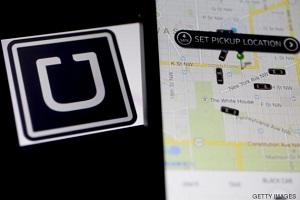 Un iphone, conectando con la aplicación de Uber en Washington, capital de EEUU.