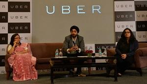 Presentación en Nueva Delhi de una iniciativa de mujeres conductoras impulsada por Uber, en marzo de 2015.